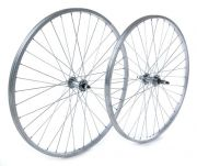 All Brands Rear Wheel 26x1.75 Alloy Rim Silver, Steel Nutted Axle
