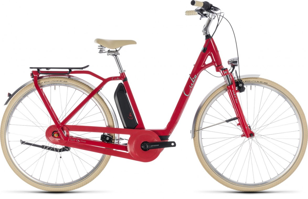 Elly Cruise Hybrid 500, 2018 - electric bike red/mint