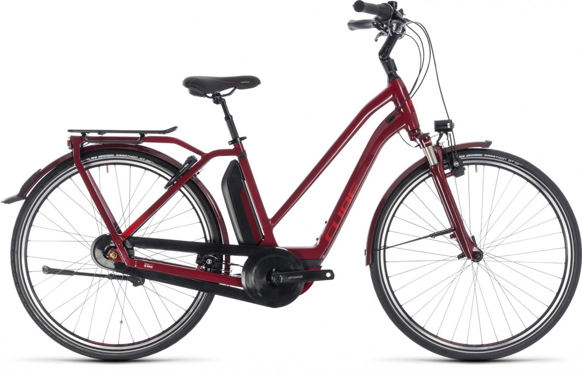 Town Hybrid Pro 400, 2018 - electric bike darkred/red
