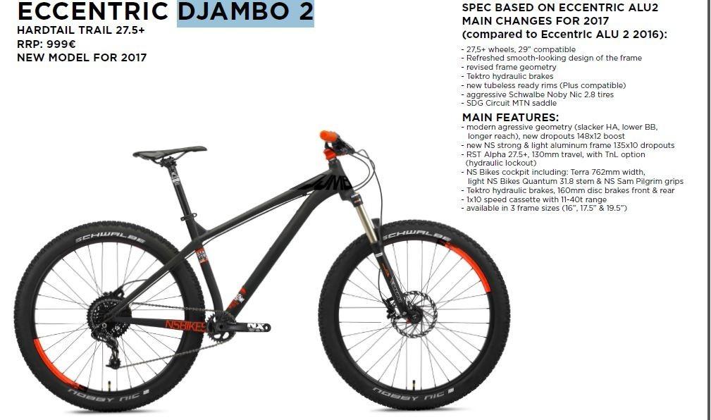 Ns bikes eccentric djambo 2 2017 650b hardtail mountain bike reheart Image collections